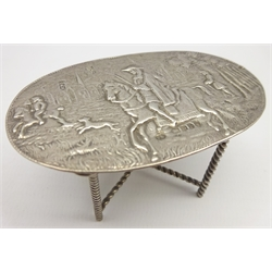 19th Century Continental silver miniature oval table with embossed decoration W7cm with import marks for London 1899