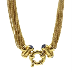 18ct gold fine multi-strand necklace, with four cabochon sapphires on spring clasp, stamped 750, retailed by Meneghetti Venice
