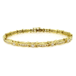 18ct gold (tested) round brilliant cut diamond link bracelet
