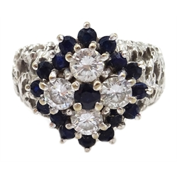 White gold diamond and sapphire cluster ring, with openwork shoulders, stamped 18ct, diamonds approx 0.5 carat