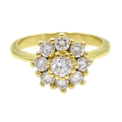 18ct gold diamond flower head cluster ring, stamped 750