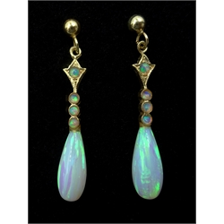 Pair of 9ct gold opal pendant earrings, stamped 375