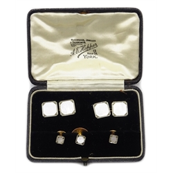 Pair of Art Deco gold mother of pearl and marcasite cufflinks and three matching dress studs, all stamped 9ct 18ct, retailed by A.E Hopper York, cased