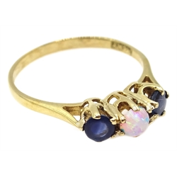 9ct gold opal and sapphire ring, hallmarked