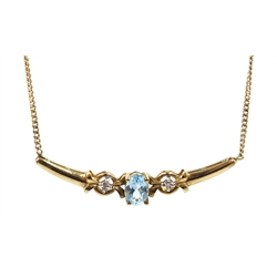 Gold aquamarine and diamond necklace, hallmarked 9ct