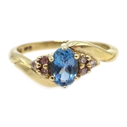 9ct gold blue topaz and diamond ring, hallmarked