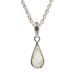 Silver opal pendant necklace, stamped 925