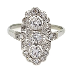 Art Deco gold diamond set marquise shaped ring, stamped 18ct