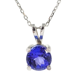 18ct white gold round tanzanite solitaire pendant necklace, stamped 750