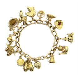 9ct curb chain bracelet, hallmarked with fifteen 9ct gold charms, 14ct gold 'E' charm, all stamped or hallmarked or tested, approx 37.7gm