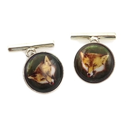 Silver enamelled fox cufflinks, stamped 925