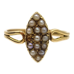 Victorian gold seed pearl hinged bangle, stamped 9ct, similar 18ct gold (tested) marquise shaped ring and later pair of screw back pearl earrings, stamped 9ct