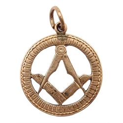 Masonic rose gold pendant, stamped 9ct