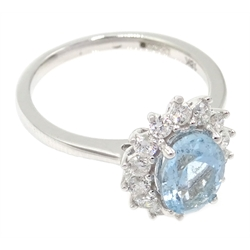 18ct white gold aquamarine and diamond cluster ring, hallmarked