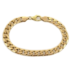 9ct gold flattened curb chain bracelet hallmarked, approx 24.9gm