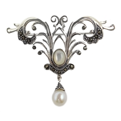 Silver pearl and marcasite brooch, stamped 925