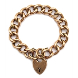 Gold cub chain bracelet with heart locket, stamped 9ct, approx 22.7gm