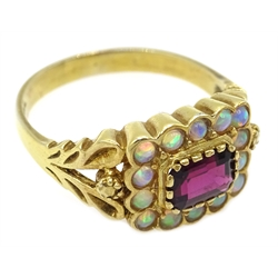 Silver gilt opal and garnet ring, stamped SIL