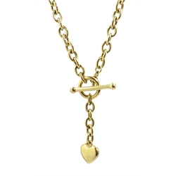 Gold belcher chain necklace with heart locket and T bar clasp, hallmarked 9ct, approx 14.7gm