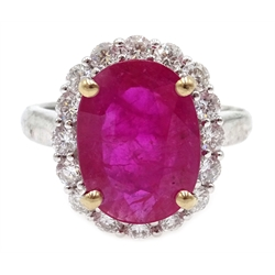 18ct white gold ruby and diamond cluster ring, stamped 750, ruby approx 3.8 carat, diamonds approx 0.8 carat