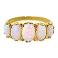 Silver-gilt five stone opal ring, stamped SIL