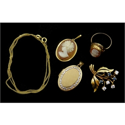 9ct gold stone set brooch and chain necklace, both hallmarked, 18ct gold cameo pendant and 9ct gold cameo ring both tested and plated locket