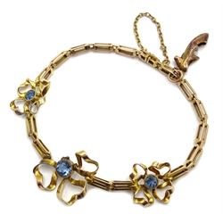 Edwardian gold blue stone set bow bracelet Rd.545277, stamped 15c with shoe charm stamped 9c
