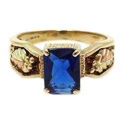 9ct gold emerald cut synthetic spinel ring, hallmarked