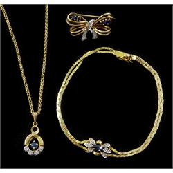 Gold diamond and sapphire pendant necklace, similar bracelet and brooch, all hallmarked 9ct or stamped 375