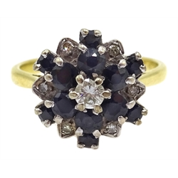 18ct gold diamond and sapphire cluster ring hallmarked