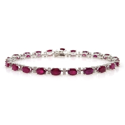 18ct white gold ruby and diamond bracelet hallmarked, rubies 11 carat, diamonds approx 1.3 carat