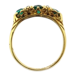 Edwardian 18ct gold three stone emerald and four stone diamond  ring, Chester 1903