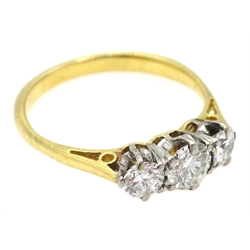 18ct gold (tested) three stone diamond ring