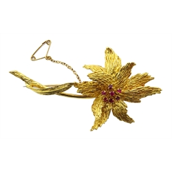 18ct gold flower stem brooch, the central disk set with seven rubies, makers mark deM, London 1963