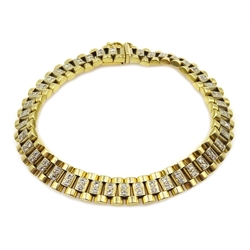 Gold diamond bracelet, each link set with two diamonds, 86 in total, hallmarked 18ct