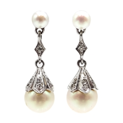 Pair of 9ct white gold, cultured pearl and diamond pendant earrings, hallmarked
