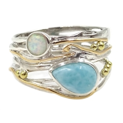 Silver with 14ct gold wire opal and larimar ring, stamped 925