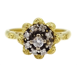 Gold diamond cluster ring, stamped 18ct