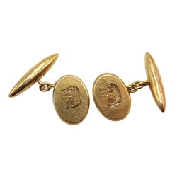 Pair of 9ct rose gold cufflinks, engraved with dog's head by Deakin & Francis Ltd, Birmingham 1914