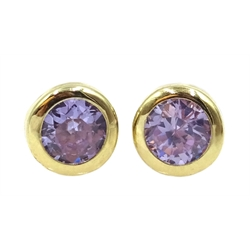 Pair of 9ct gold white amethyst stud earrings, stamped 375