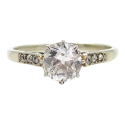 18ct white gold (tested) diamond solitaire ring, with diamond set shoulders, diamond approx 0.6 carat