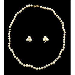 Single strand cultured pearl necklace, with 9ct gold bow clasp stamped 375 and pair of gold diamond and pearl clover stud earrings, stamped 14K