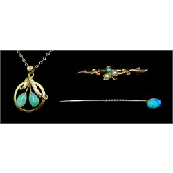 Gold jade flower pendant, stamped 14K on necklace, stamped 9ct, opal stick pin, stamped 15ct and turquoise and seed pearl gold brooch, stamped 9ct