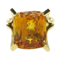 Orange synthetic corundum gold ring, stamped 14K