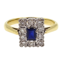 Gold sapphire and diamond panel shaped ring, stamped 18ct Plat
