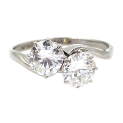 White gold two stone diamond crossover ring, makers mark WG&ampS, stamped 18ct Plat, each diamond approx 0.6 carat