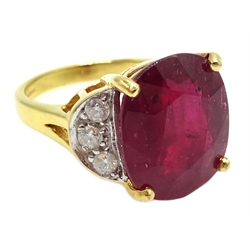 18ct gold oval ruby ring, with three diamonds set each side, hallmarked, ruby approx 10.5 carat, with certificate