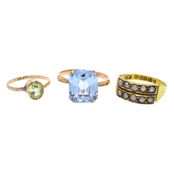 Victorian 15ct gold double row seed pearl ring, Birmingham 1885 and two rose gold stone set rings, both stamped 9ct