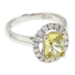White gold yellow sapphire and diamond cluster ring, hallmarked, sapphire approx 1.3 carat