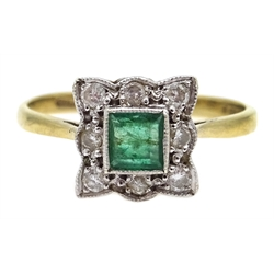 9ct gold emerald and diamond square shaped cluster ring, hallmarked